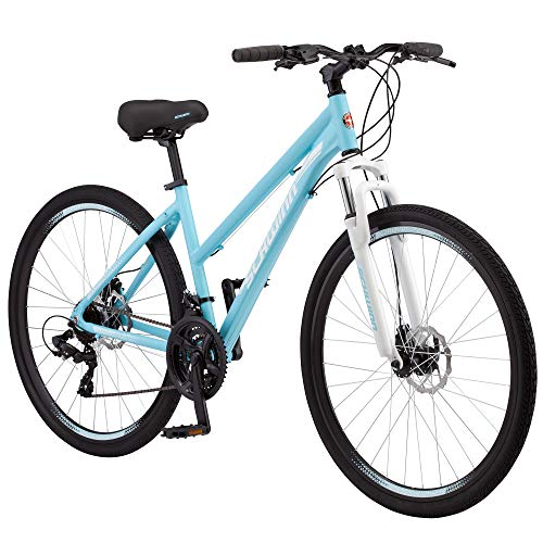 Schwinn GTX 2.0 Comfort Adult Hybrid Bike, Dual Sport Bicycle, 17-Inch Aluminum Frame, Light Blue