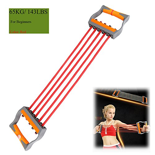 Ueasy Adjustable Chest Expander Resistance Exercise System Bands Strength Trainer for Home Gym Muscle Training Exerciser (Red-65KG)