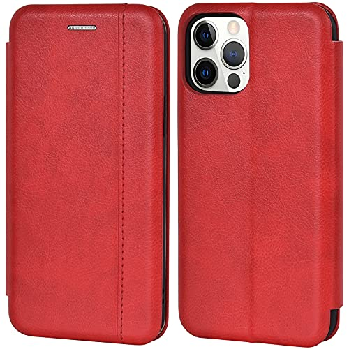 Leaum Funda de teléfono móvil para iPhone 12 Pro, funda de piel, funda con [tarjetero] [soporte magnético] [función atril] resistente a los golpes, funda protectora para iPhone 12/12 Pro, color rojo