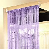 NAttnJf Borde de Abalorios con borlas Cuerda Brillante Cortina Puerta Habitación Ventana Divisor Decoración del hogar Purple