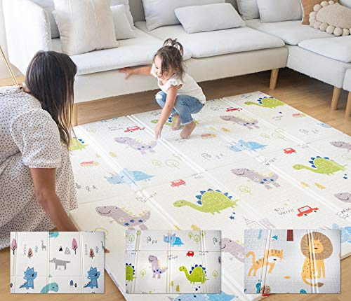 EZ Baby - Extra Large Foldable Kids Play Mat - 6'5x5'10 Playmat Non-Toxic, Waterproof, Reversible - for Girls, Boys, Toddler, Infant, Child, Alphabet, Floor (Dinosaurs)