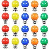 Huamu Lot de 24 ampoules Led B22 2W Guirlande Rouge, Jaune, Orange, violet, Bleu,Incassable (équivalence 20W)