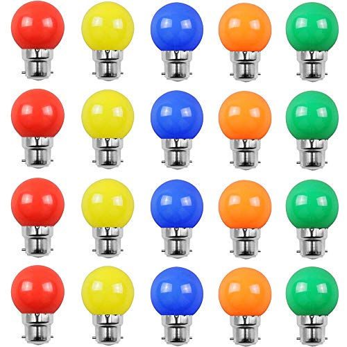Set of 20 LED Light Bulbs B22 2W, Red, Unbreakable Garland (15W Equivalent). Rouge,jaune,orange,verte,bleu