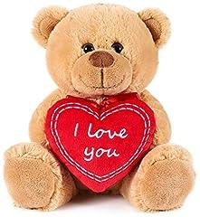 Idea Regalo - Brubaker Orsacchiotto Orso di Peluche con Scritta I Love You su Un Cuore di Peluche - 25 cm di Altezza