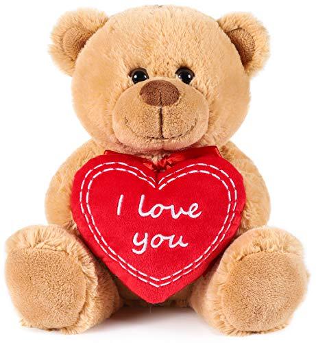 Brubaker Teddy Plüschbär mit Herz Rot - I Love You - 25 cm - Teddybär Plüschteddy Kuscheltier Schmusetier - Braun Hellbraun