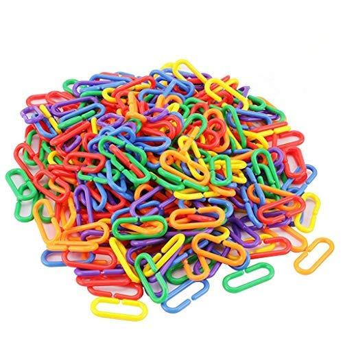 iwobi 400 pezzi Catena Giocattolo,Catena in Plastica per Giocattoli di Bambini,Catenella per Passeggino,Catena Colorata