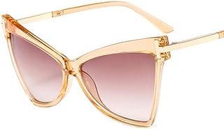 QPRER - Gafas De Sol,Marco De Champán Lente Doble De Té De Moda Forma De Ojo De Gato para Mujer Gafas De Sol con Personalidad Europea Americana Gafas De Sol De Playa Decorativas En Forma De T