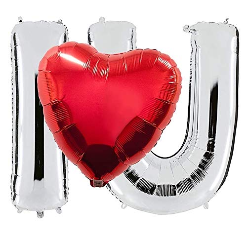 DIWULI, 3 Teile I Love U Luftballon-Set mit Herz-Ballon, Silberne Buchstaben + roter Herzform Folien-Luftballon, Herzluftballon, Herzfolienballon, Folien-Ballons für Geburtstag, Hochzeit, Dekoration