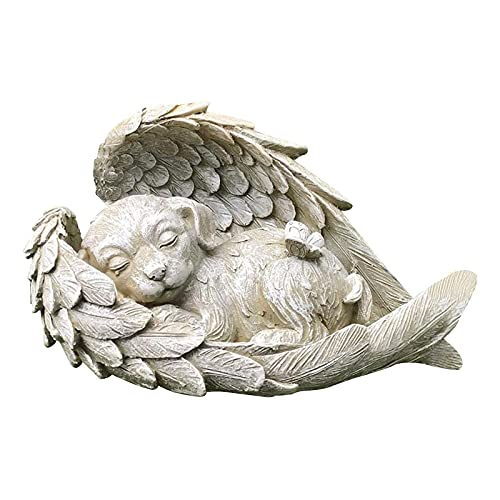 QQWD Garden Statues,Dog Cat Angel Wings Pet Memorial Outdoor Statue Sleeping Angel Animals Statues Decor Outdoor Ornaments,Angel dog