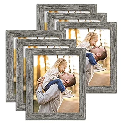 TWING Rustic 8 10 Picture Frame Distressed Wood Pattern High Definition Plexiglass Photos Frame for Table Top and Wall Display 6 Pack Grey