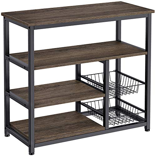 Homemaxs Kitchen Baker's Rack, 4 Tier + 4 Tier Microwave Storage Stand with 2 Slide-Out Mesh Baskets, Vintage Utility Shelf for Spices, Pots, and Pans Organizer Workstation - Rustic Gray