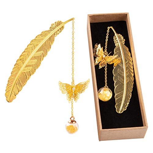 Bookmark Metal, Feather Bookmarks with 3D Butterfly and Glass Beads Pendant, Gifts for Readers Book Lovers Women Kids (Gold Feather Yellow Stars)