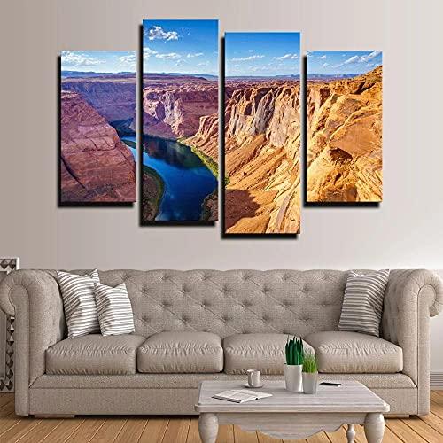 KOPASD 4 Piezas Modernos Mural Grand Canyon con el río Colorado Cuadro en Lienzo,impresión artística,único,Pasillo Decor Pared Cuadro Carteles Innovador