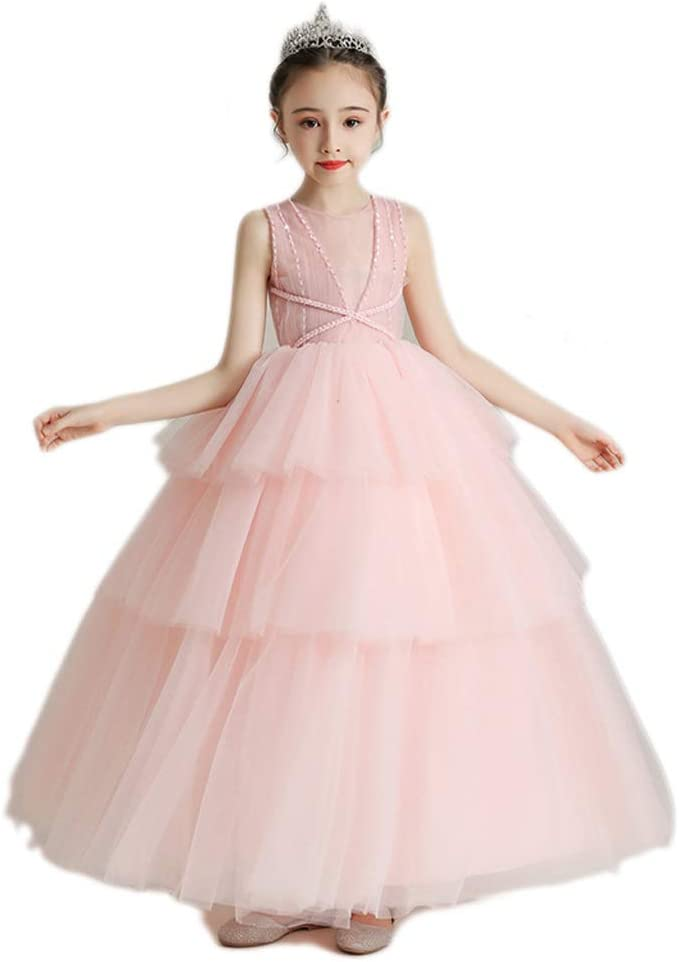 TONG Girls Dress Flower Girl Birthday Princess Dress Host Piano Performance Dress Kids Fluffy Evening Dress Soft (Color : Pink-c, Size : 160cm)