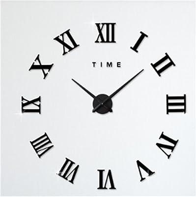 DHXY Creative DIY Wall Clock Clock Acrylic Mirror Large Clock Stickers , black
