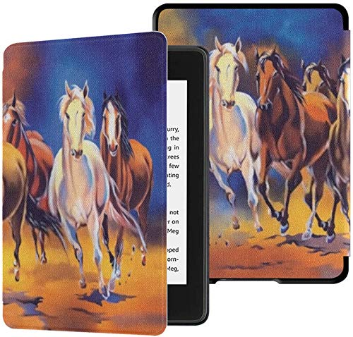 All-New Kindle Paperwhite Water-Safe Fabric Cover(10th Generation, 2018 Release), Seven Horse Painting Significance Vaastu Horses Tablet Case