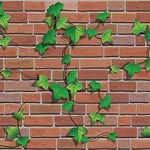 HIZLJJ Wallpaper Removable wallpaper Green Leaf Wall Sticker Stone Brick Wallpaper, 3D Effect PVC Peel and Stick Wallpaper...