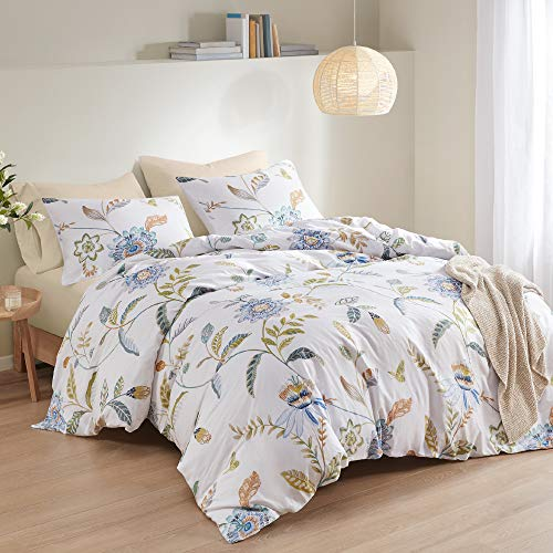 Inspire by Intelligent Design 3 Piece Duvet Cover (Insert Sold Separately) Cotton Sateen, Modern All Season Bedding Set with Matching Sham, Mia Spring Floral