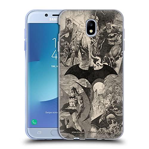 Head Case Designs sous Licence Officielle Batman DC Comics Collage de Logo en détresse Hush Coque en Gel Doux Compatible avec Samsung Galaxy J7 2017 / Pro