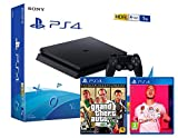 PS4 Slim 1Tb Negra Playstation 4 Consola + FIFA 20 + GTA V Grand Theft Auto 5 Premium...