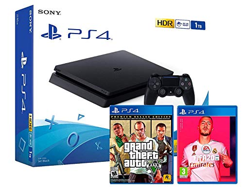 PS4 Slim 1TB schwarz Playstation 4 Konsole + FIFA 20 + GTA V Grand Theft Auto 5 Premium Edition