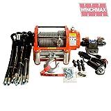 Winchmax 10,000lb (4,536kg) Original Naranja Cabrestante Hidráulico, Cuerda de Acero, Sistema de Control Completo