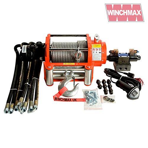 WINCHMAX Hydraulische Seilwinde 4536 kg, Orange, Stahlseil, Vollkontrollsystem