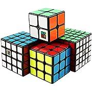 Coogam Moyu Cube Bundle 2x2 3x3 4x4 5x5 Speed Cube Set MF2S MF3S MF4S MF5S Pack Black Puzzle Toy Gift Box