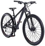 BIKESTAR Bicicleta de montaña Hardtail de Aluminio, 21 Marchas Shimano 27.5' Pulgadas | Mountainbike con Frenos de Disco Cuadro 14' MTB | Negro Rojo