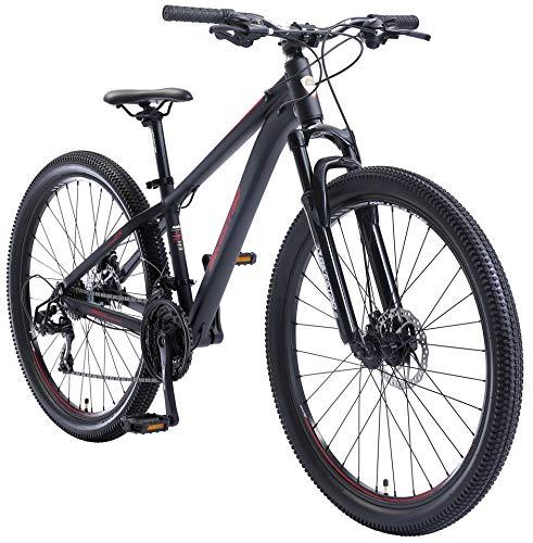 BIKESTAR Hardtail Alloy Mountainbike 27.5 inch tires, Shimano 21 Speed, Discbrake | 14' frame MTB Bicycle black red