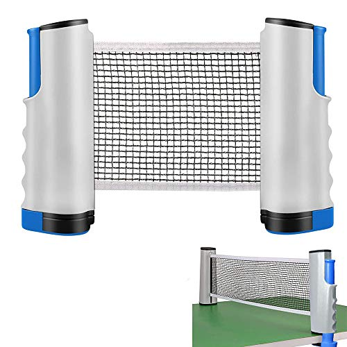 YUANXIASM Red de Ping Pong Ajustable,Red de Tenis de Mesa Retráctil, Soporte de Ping Pong Portátil para Escritorio de Oficina, Cocina o Mesa de Comedor.Longitud Ajustable (Gris-Azul)