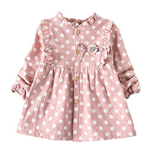 Moneycom❤Toddler Baby Kids Girls grueso Polka Dot Print Princess Dress Ropa caliente vestido de fiesta de tul chic ceremonia boda rosa 6-12 Meses