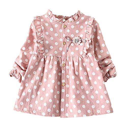 Moneycom❤Toddler Baby Kids Girls grueso Polka Dot Print Princess Dress Ropa caliente vestido de fiesta de tul chic ceremonia boda rosa 6-12 Meses