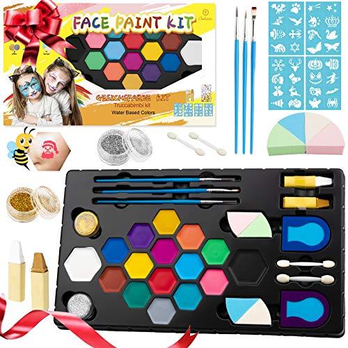 Oukzon Kinderschminke Set, 16 Wasserlösliche Face Paint Schminke kit für Kinder mit 32 Schablonen, Glitzer, Haarfarben, Pinsel, Gesichtsfarbe für Körper-Farben- Halloween&Fasching, Geschenk Makeup-Set