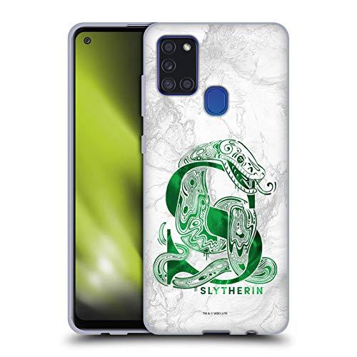 Head Case Designs Ufficiale Harry Potter Slytherin Aguamenti Deathly Hallows IX Cover in Morbido Gel Compatibile con Samsung Galaxy A21s (2020)
