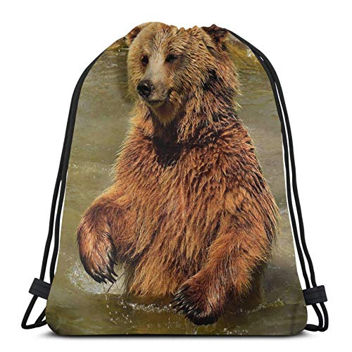 Brown Bear In The Water Drawstring Backpack Sports Gym Sackpack Travel Bag For Kids Men Women