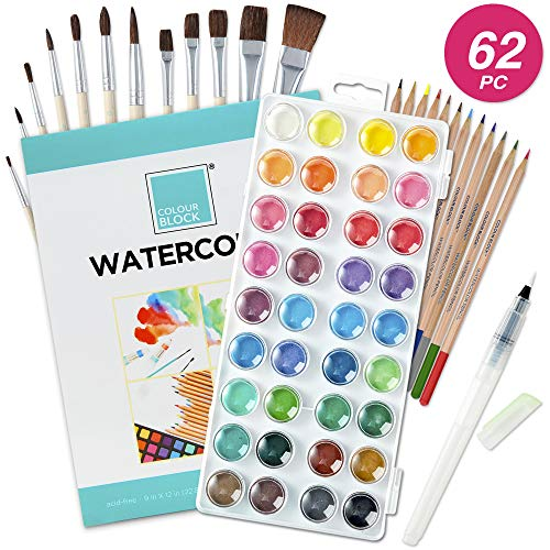 COLOUR BLOCK 62pc Watercolor Cake Set, Pencil, Brushes and Watercolor Paper Painting Set. Art Kit for Children, Teens, Adults and Beginner or Professional Artist