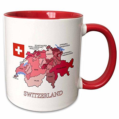 3dRose Schweiz Flagge &, um cantons in verschiedenen Colours-Two, Tasse, Keramik, 10,16x 7,62x 9,52cm, Rot