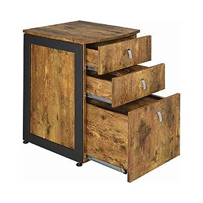 Coaster Home Furnishings CO- Estrella 3-Drawer File Cabinet, Antique Nutmeg and Gunmetal