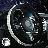 Vandz Diamond Bling - Funda para volante para mujer y niña, con cristales brillantes de piel para coche, accesorios interiores, Negro, Standard size[14 1/2''-15'']