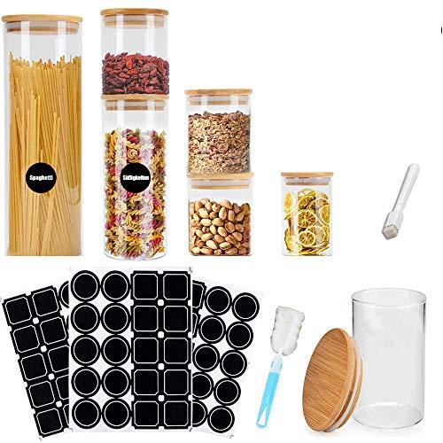 MEckily Vorratsdosen Glas 6er Set, Gewürzgläser Luftdicht Vorratsgläser Glasdose Glasbehälter aus Borosilikatglas mit Deckel, Kapazität 300, 500, 1000, 2100 ml…