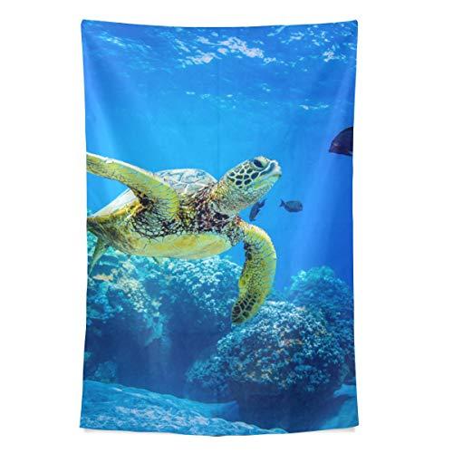 Flexible Turtle In Blue Ocean Wandteppich Wandbehang Cool Post Print für Wohnheim Home Wohnzimmer Schlafzimmer Tagesdecke Picknick Bettlaken 80 X 60 Zoll