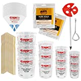 Pouring Masters Ultimate Paint Mixing Cup Kit - 12 Plastic Graduated Mixing Cups, 3 Each of 12, 24, 44, 72 Ounce Sizes - 12 Mixing Sticks, 12 Paint Strainers, 2 Tack Cloths, Mixer Blade, Can Opener