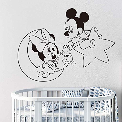 Pegatina Minnie Mouse Wall Art Dibujos animados Moon Star Mickey Minnie Mouse Baby Nursery Kids Room Dibujos animados Anime Mickey Minnie Girl Room