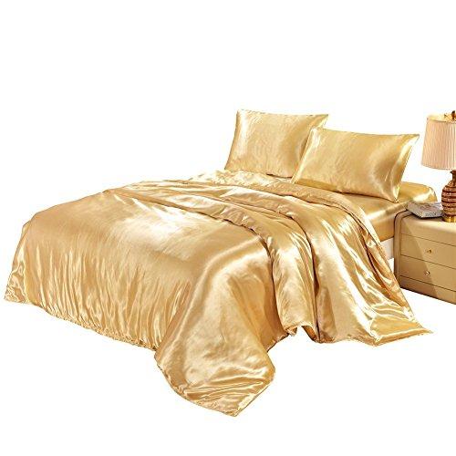 HYSENM Set Bettwäsche Kissenhülle x 2 Satin einfarbig glatt bequem Verschiedene Größen, Beige Bettwäsche(200 x 200cm)+2 x Kissenhülle(50 x 75cm)