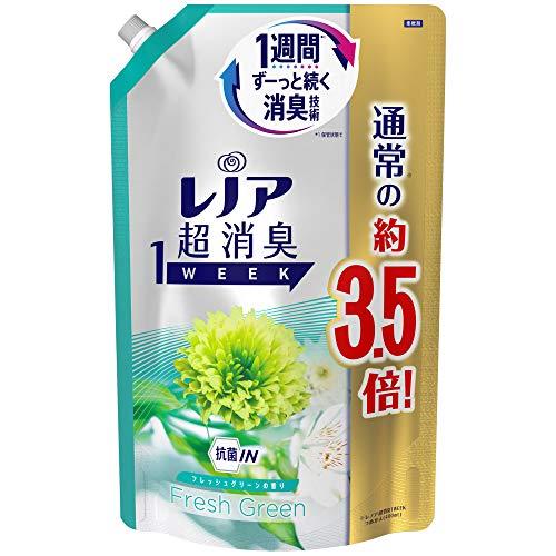 レノア 超消臭1WEEK 柔軟剤 フレッシュグリーン 詰め替え 大容量 1390mL(約3.5倍)