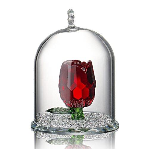 H&D Decorazione in cristallo, con rosa di cristallo in cupola di vetro, metallo, Red