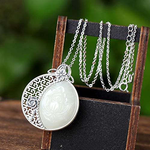 K-ONE Real S925 Silver Hand-Inlay Natural Hetian White Jade Carving Rose Theme Colgante Lucky Women Adornos + Collar Gratis + Caja de Regalo