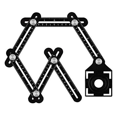 Regla de múltiples ángulos, seis regla de medición ángulo aleación de aluminio plegable Herramienta medición localizador apertura orificio de azulejo universal Buscador de ángulo para artesanos