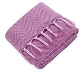 Mixibaby Tagesdecke Wohndecke Wendedecke Kuscheldeck Sofadecke Couchdecke, Farbe:pink, Design:Fischgrätendesign